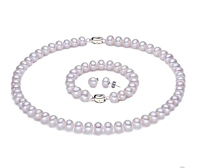 Jyxpearl Luxurious 6-7mm AA White Flat Freshwater Pearl Necklace, Bracelet and Stud Earrings Set