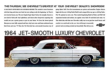 amazon 1964 chevrolet impala ad digitized re mastered car 1964 Impala Custom 1964 chevrolet impala ad digitized re mastered car poster print quot jet smooth