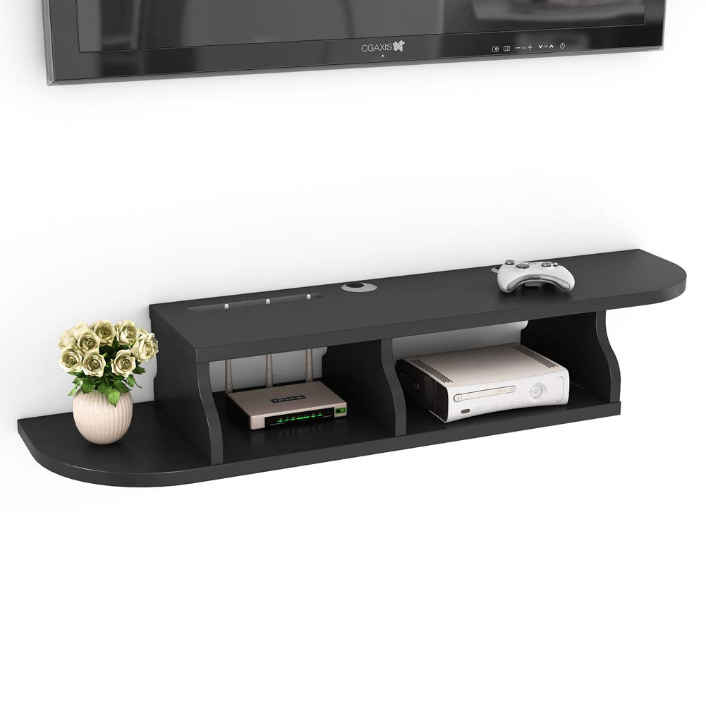 Tribesigns 2 Tier Modern Wall Mount Floating Shelf TV Console 47.2x10.6x7 inch for Cable Boxes/Routers/Remotes/DVD Players/Game Consoles (Black Color) by Tribesigns