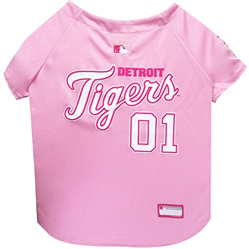 Pets First MLB Detroit Tigers Dog Jersey, Medium, Pink
