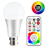 Jayool B22 LED Colour Changing Light Bulbs with Remote Control, Bayonet Dimmable Colour Bulbs with Timing, Memory &Sync, 120 Multi RGB Colours + Daylight White (1 Pack)