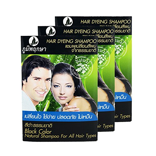 Hair Dyeing Shampoo Real Herb No Ammonia Poompuksa Black color 3 pcs.