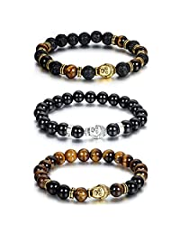 Cupimatch 3PCS Men Women 8mm Synthetic Agate Lava Rock Stone Buddha Healing Energy Balance Beaded Link Stretch Bracelet