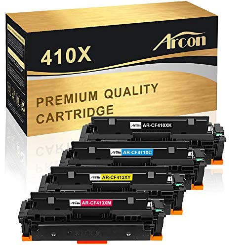 Arcon Compatible Toner Cartridge Replacement for HP 410X CF410X 410A CF410A CF411X CF412X CF413X M477fdw HP Color Laserjet Pro MFP M477fdw M477fnw M477fdn M452dn M452dw M452nw M452 M477 M377dw Printer