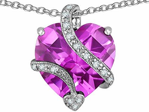 Star K Large 15mm Heart Shape Created Light Pink Sapphire Love Pendant Necklace Sterling - Light Pink Sapphire