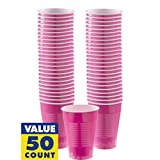 Amscan Big Party Pack 50 Count Plastic Cups, 16-Ounce, Bright Pink