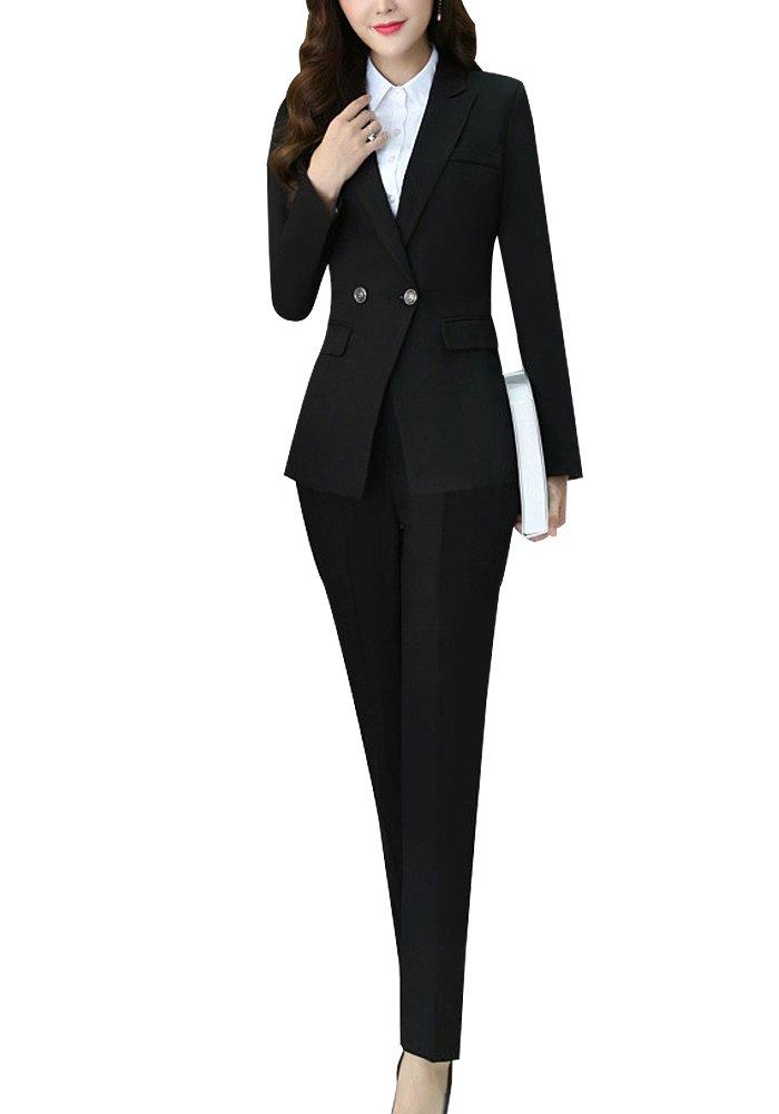 レディース スーツ スカートスーツ パンツスーツ ベスト シャツ スリーピース ストライプ OL オフィス 就活 ビジネス 通勤 事務服 大きいサイズ お洒落 ファッション 正規品 高品質 一つボタン 四季 B07BW3CX5J Large|ブラック ブラック Large