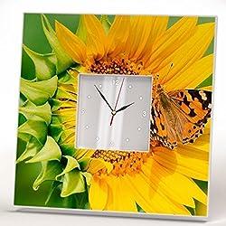 Sunflower Butterfly Wall Clock Framed Mirror Flower Decor Art Printed Home Room Gift Yellow Design