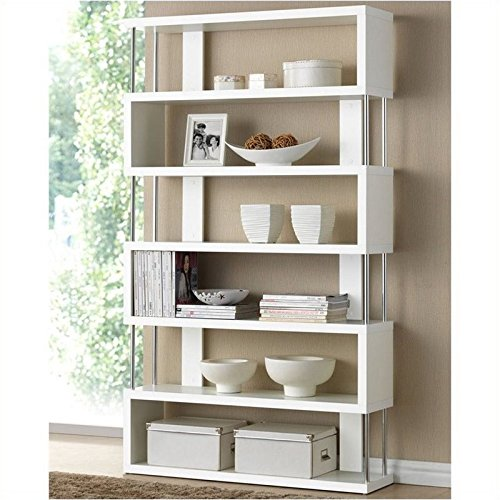Bowery Hill 6 Shelf Modern Bookcase in White ()