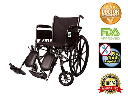 Lightweight Folding Wheelchair Detachable Full Arm and Removable/detachable Elevating Legrests By Healthline (18' Steel Wheelchair)