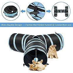 SlowTon Juguete del túnel del Gato de 3 Maneras, Crujido de Papel Tubo Plegable Conectado Correr Camino Camino túnel gatera Puzzle casa de Ejercicio y Jugar para Gatito (Azul), Regalo de Navidad