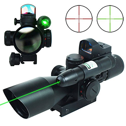 UUQ 2.5-10x40 Clarity+ Combo Rifle Scope Dual Illuminated Mil-dot W/Green Light and Mini Reflex 3 MOA Red Dot Sight (12 Month Warranty)