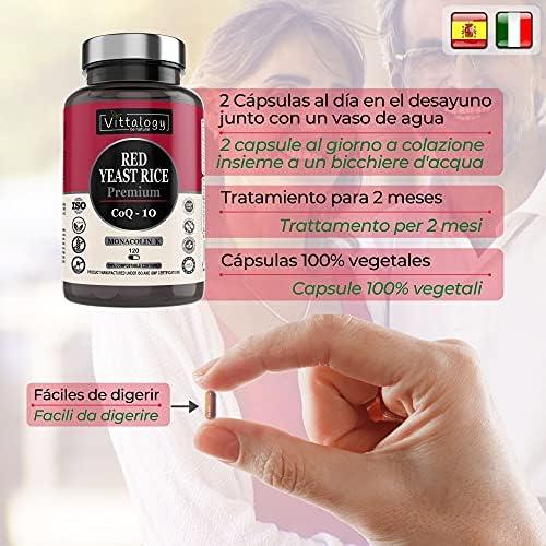 Vittalogy Red Yeast Rice Premium. Levadura de Arroz Rojo Con Coenzima Q10. Reduce el Colesterol. Alto Contenido En Monakolina K Con Extracto de Cardo ...