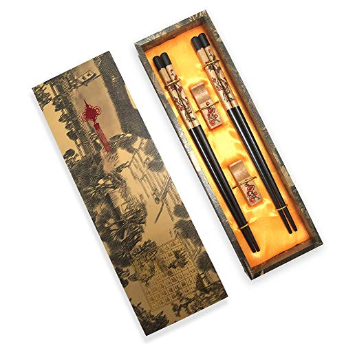 Blossom Plum Designs - Chopsticks Reusable, MHKBD Chinese Style Chopsticks with Plum Blossom Design Woooden Chop Sticks with Holder and Carrying Bag Chinese Gift Set Chopsticks set(2 Pairs)