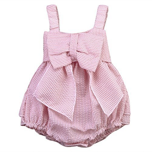 Charm Kingdom Baby Girls Striped Seersucker Bubble Straps Ruffle Layers Bowknot Romper (70(0-6M)) - Summer Seersucker