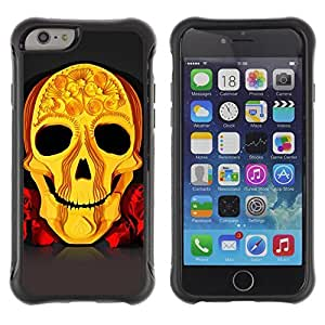 Hybrid Anti-Shock Defend Case for Apple iPhone 5s Inch / Cool Yellow Skull Art