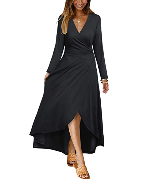 c2564686be965 OUGES Womens Casual V Neck Long Sleeve High Low Maxi Dress Asymmetrical