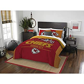 Image of 3pc NFL Kansas City Chiefs Comforter Full Queen Set, Fan Merchandise, Football Themed, Sports Patterned Bedding, Unisex, National Football League, Team Logo, Yellow, Team Spirit, Red Home and Kitchen