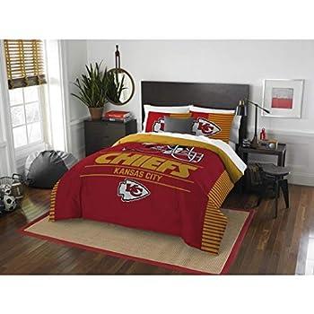 Image of 3pc NFL Kansas City Chiefs Comforter Full Queen Set, Fan Merchandise, Football Themed, Sports Patterned Bedding, Unisex, National Football League, Team Logo, Yellow, Team Spirit, Red