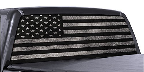 Decal Truck - FGD Brand Truck Rear Window Wrap Black & White Distressed American Flag Perforated Vinyl Decal