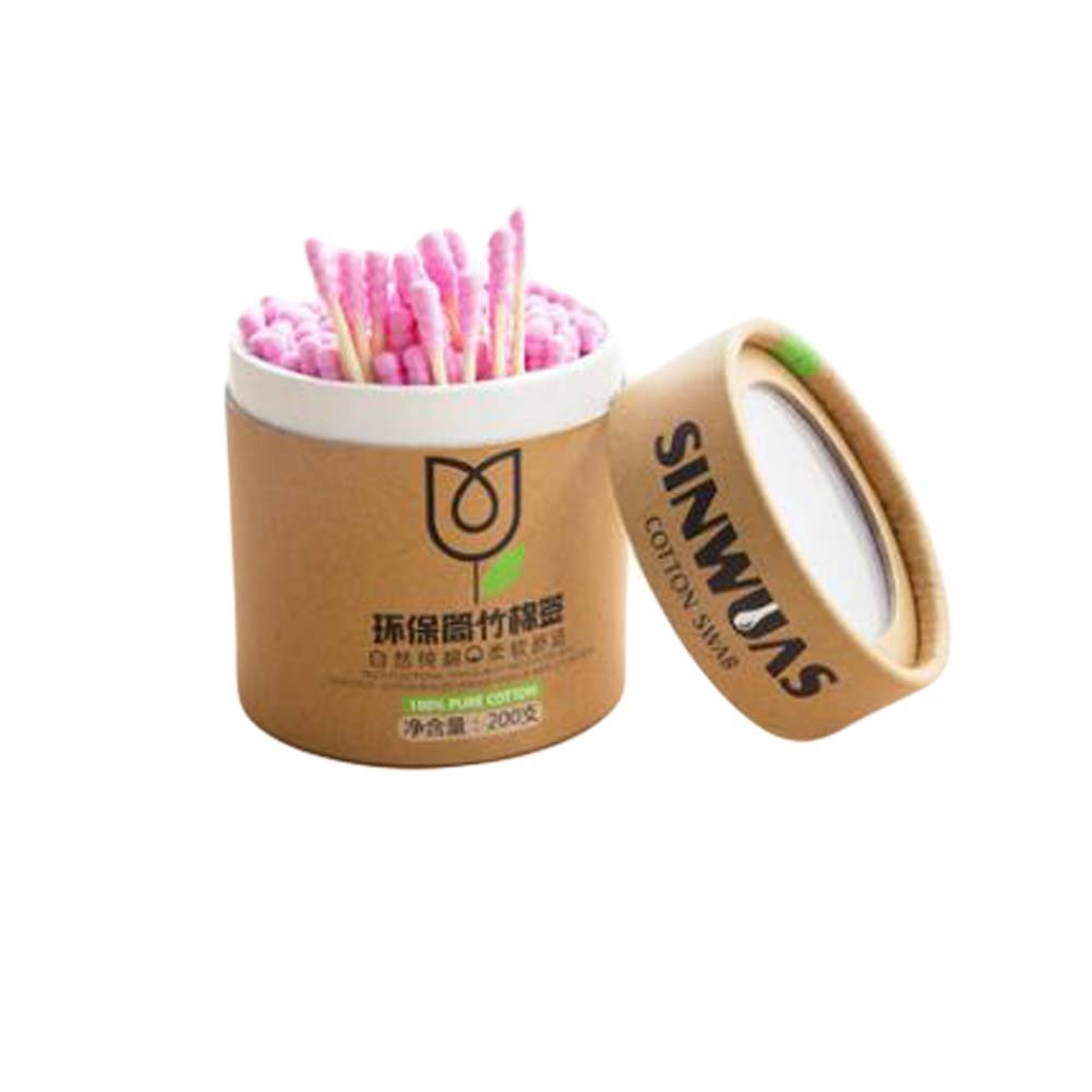 400 Pieces Double-Sided Ear Swabs Pink Cotton Swabs Ear Cleaner Stick