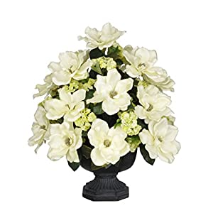House of Silk Flowers Artificial Cream Magnolia with Snowball in Black Garden Urn 9