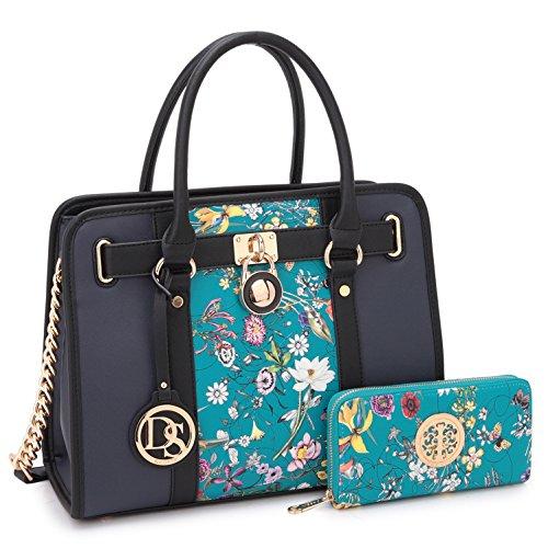 Designer Shoulder Padlock Tone Strap blue Purse Two Medium Print Satchel Large Handbag w Floral Ex0wqwS1z