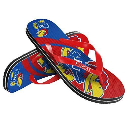 2015 NCAA College Unisex Big Logo Beach Summer Sandal Flip Flops (Kansas Jayhawks, Medium) -