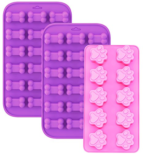 Korlon 3 Pack Silicone Molds for Dog Treats, Dog Paw and Bone Trays for Baking Biscuit, Chocolate, Candy, Set of 3 (Pink & Purple)