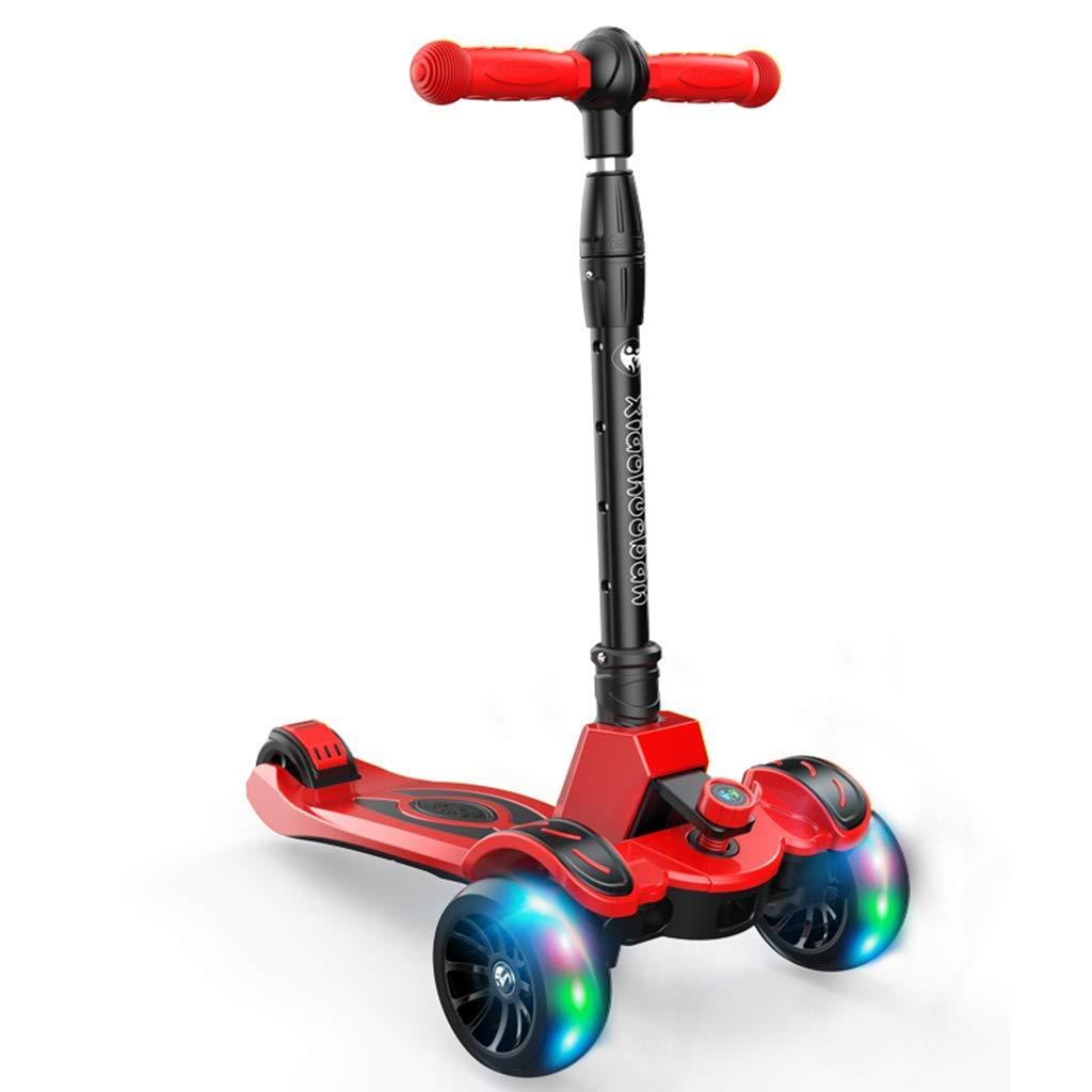 CMXIA Il motorino dei Bambini Pieghevole di Altezza Regolabile per Il Bambino a 2-12 Anni del Flash a Quattro Ruote motorino di Colorei Multipli Disponibili ( Colore   rosso )