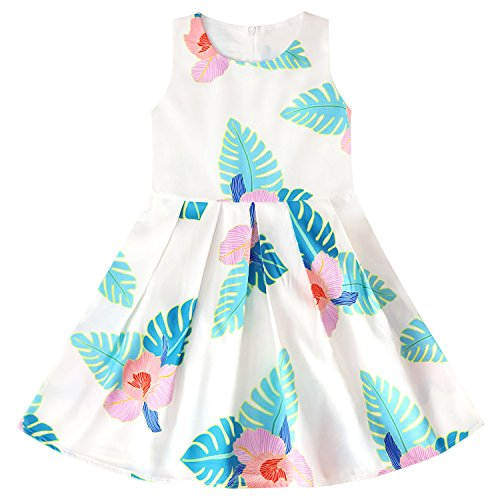 a0cd597db Girls Swing Dresses Sleeveless Kid Floral Print Sundress Butterfly Party