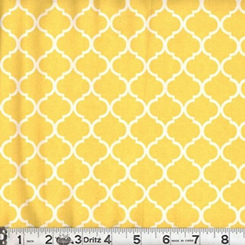 Quatre Pieces (Mini Quatrefoil Fabric White on Lemon Yellow 100% Cotton by the Yard)