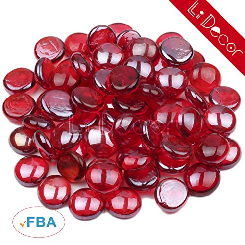 Li Decor Fire Glass Gas Fireplace Glass Drops Fireglass Beads Outdoors Indoors 10 Pounds 1/2 Inch Rubine Luster Red ()