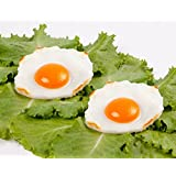 Pack of 2 Realistic Fried Egg Artificial Fake Food Novelty Toy Brown Birthday Prank Toy Novelty Gift Joke