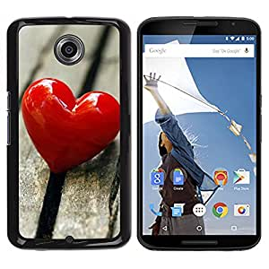 Paccase / SLIM PC / Aliminium Casa Carcasa Funda Case Cover - Love Heart & Wood - Motorola NEXUS 6 / X / Moto X Pro