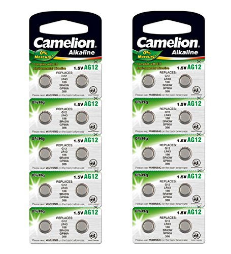 20 Count AG12, LR43, 186, SR43W, GP86A, 386 - Button Cell Battery Alkaline 1.5V, Mercury Free -