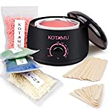 Wax Warmer Kit, KOTAMU Hair Removal Waxing Kit with 4 Hard Wax Beans Target for Bikini Brazilian Full Body Face Facial Eyebrows Legs Armpit, Painless At Home Wax Kit for Women and Men