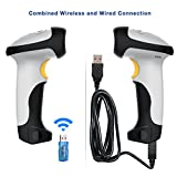 BLUEHRESY USB 1d Laser Wireless Automatic Barcode Scanner Bluetooth Barcode Reader 10 m Distance Compatible for Ipad, Iphone, Android Devices, Mac, Tablet, PC Support Keyboard Entry