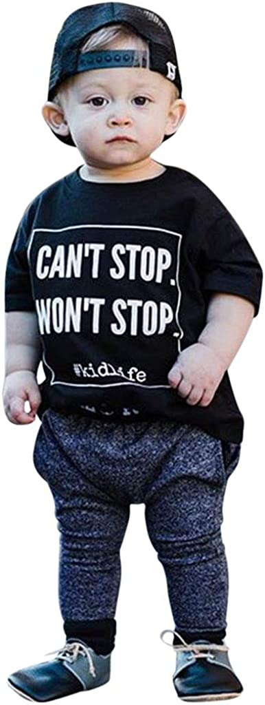 Womola Baby Boy Clothes Cant Stop Letter Print Short Sleeve Tops Leggings Pants Outfits Set For Toddler Boys