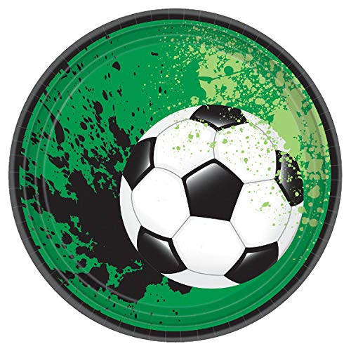 """Soccer Ball Party Plates, 7"""" Round, 8 Count"""