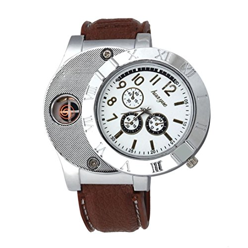 Binmer(TM)Men Windproof Casual Military Quartz Watch USB Cigarette Cigar Flameless Lighter Brown (Current Watch For Men)