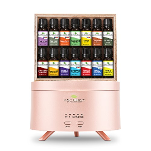 Plant Therapy 7 & 7 Gift Sets (7 Singles & 7 Synergies) with Rose Gold AromaFuse Diffuser