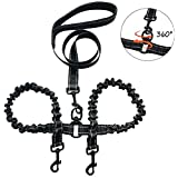 YSNJLQ Double Dog Leash No Tangle 2 Dogs Leash with Padded Handle Bungee Dual Dogs Leash for 2 Dogs Training Walking (Black)