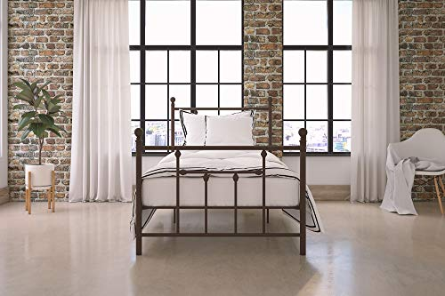 DHP Manila Metal Bed with Victorian Style Headboard and Footboard, Includes Metal Slats, Twin Size, Bronze (Set Bronze Headboard)