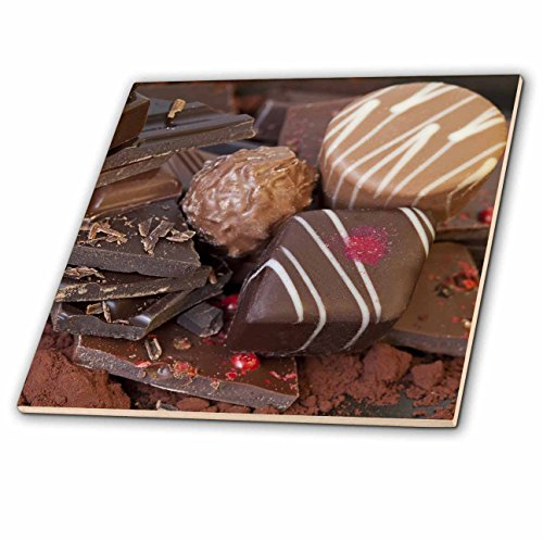 3dRose Andrea Haase Food Photography - Delicious Chocolate And Pralines Close Up - 12 Inch Ceramic Tile (ct_274819_4) - High Gloss Praline