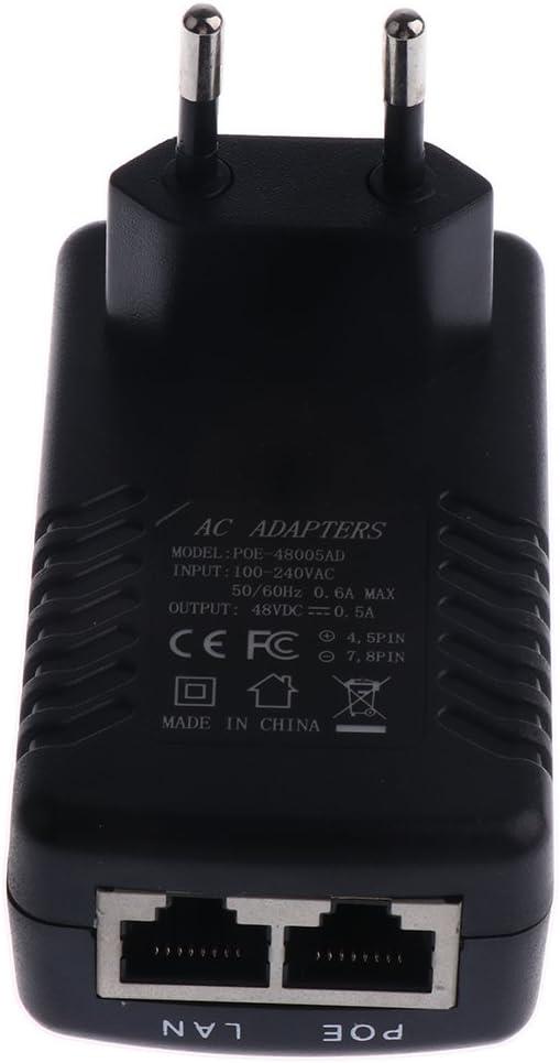Gazechimp Adaptador POE de 48V 0.5A con 2 Puertos Accesorios de Red Ethernet WLAN IP Tel/éfono