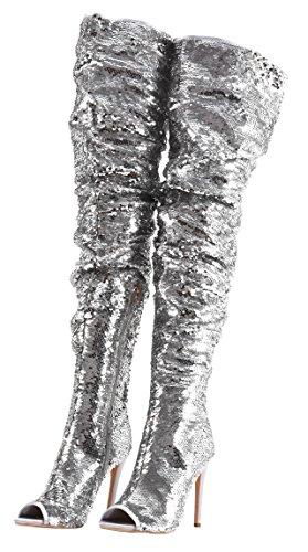 Camssoo Moda Donna Peep Toe Scintillanti Paillettes Coscia Alta Sopra Le Ginocchia Pupe Tacco Stivali Da Ballo Festa Di Natale Argento