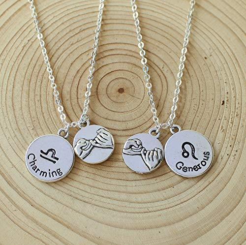 2Pcs Pinky Promise,Custom Personalized Zodiac Necklace
