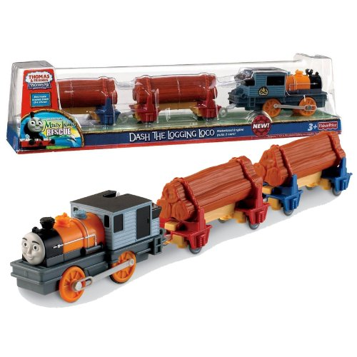"""Fisher Price Year 2010 Thomas and Friends As Seen On """"Misty Island Rescue"""" DVD Series Trackmaster Motorized Railway Battery Powered Tank Engine 3 Pack Train Set - DASH THE LOGGING LOCO with 2 Flatbed"""