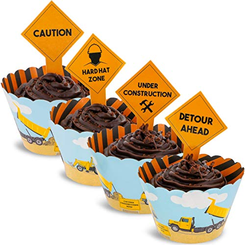Juvale 100-Piece Construction Zone Cupcake Toppers and Wrapper Liners for Kids Birthday Party Supplies -